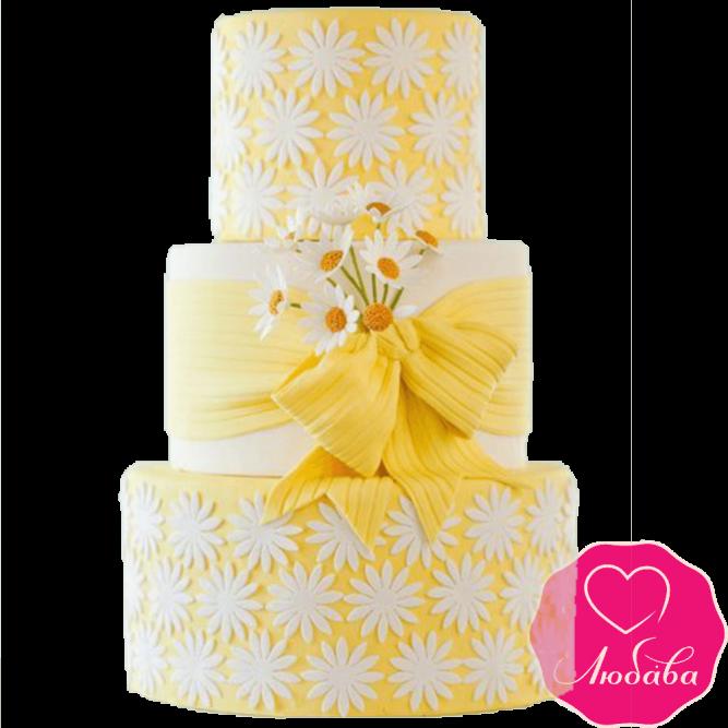 Торт свадебный с ромашками №2153