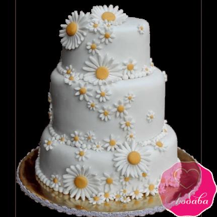 Торт свадебный с ромашками №2154