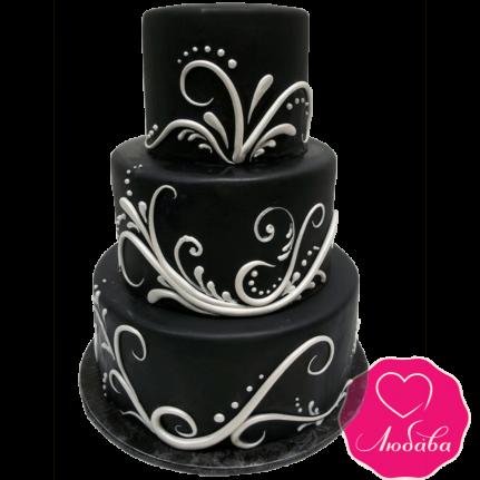 Торт свадебный черный №2160