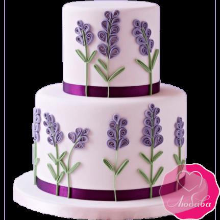 Торт свадебный с лавандой №2170