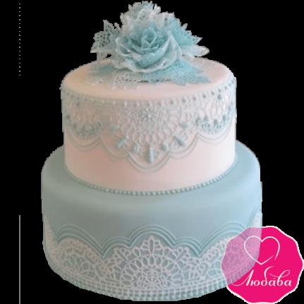 Торт свадебный с кружевами №2178