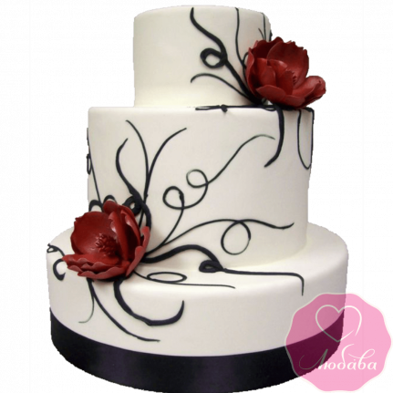 Торт свадебный с маками №2180