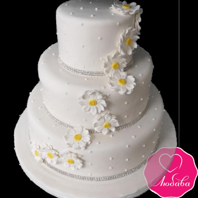 Торт свадебный с ромашками №2183