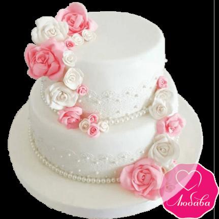 Торт свадебный с розами №2189