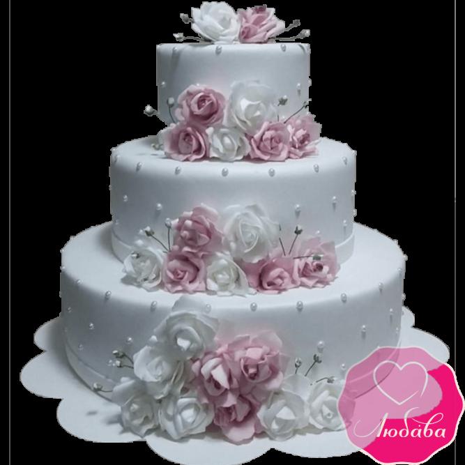 Торт свадебный с розами №2190