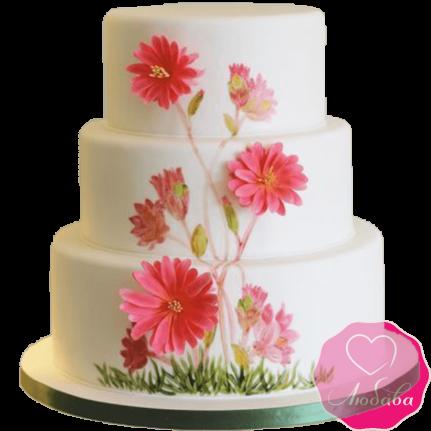 Торт свадебный с полевыми цветами №2191