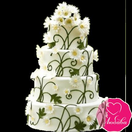 Торт свадебный с ромашками №2192