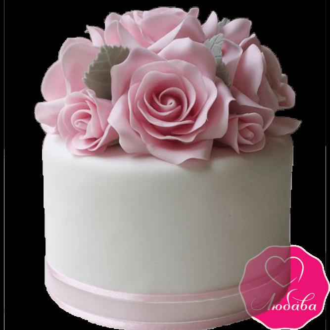 Торт свадебный с розами №2193