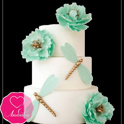 Торт свадебный со стрекозами №2195
