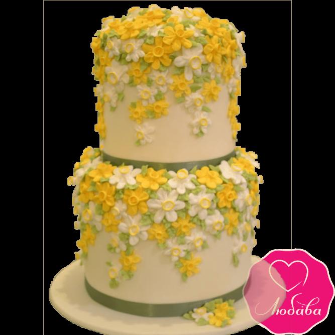 Торт свадебный с нарциссами №2203
