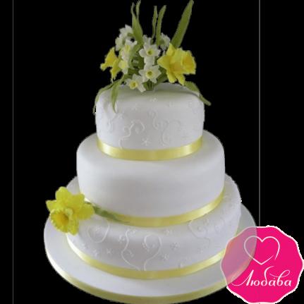 Торт свадебный с нарциссами №2204