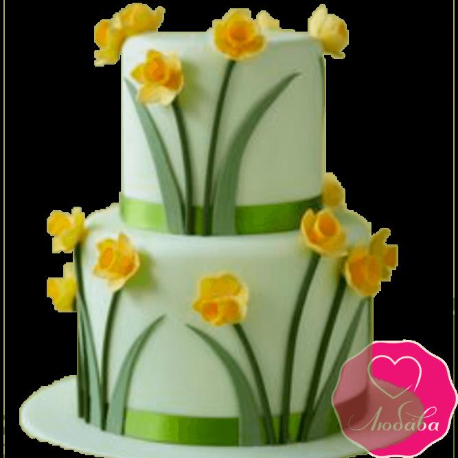 Торт свадебный с нарциссами №2205