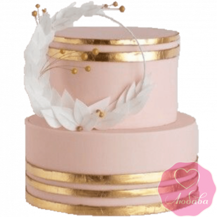 Торт свадебный золотой №2206