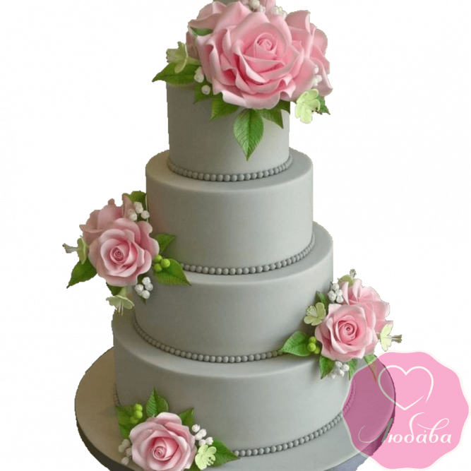 Торт свадебный серый с розами №2207