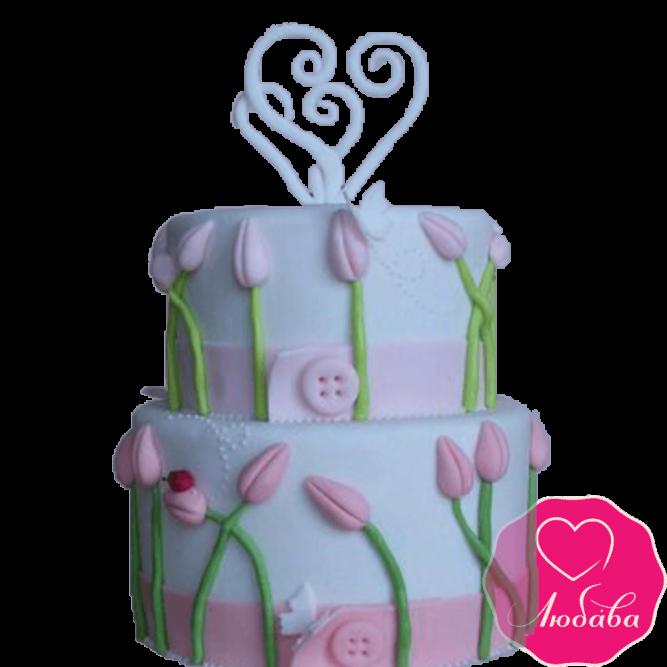 Торт свадебный тюльпаны и сердце №2208