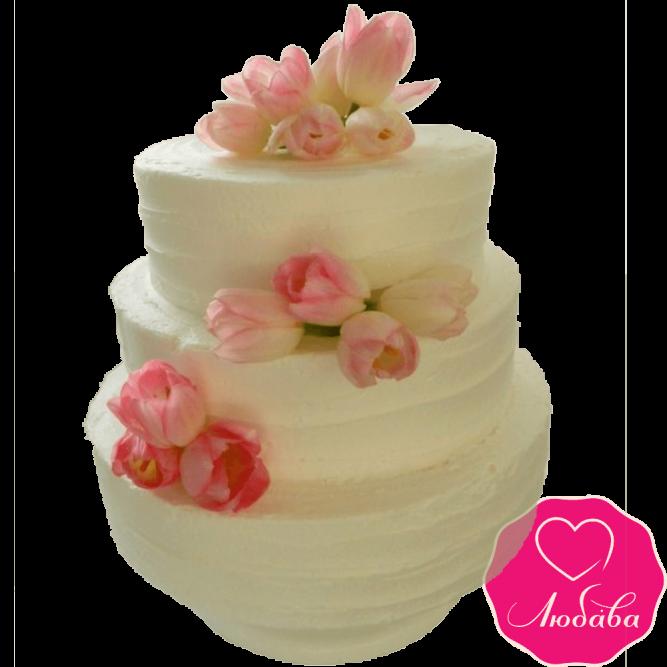 Торт свадебный с тюльпанами №2209