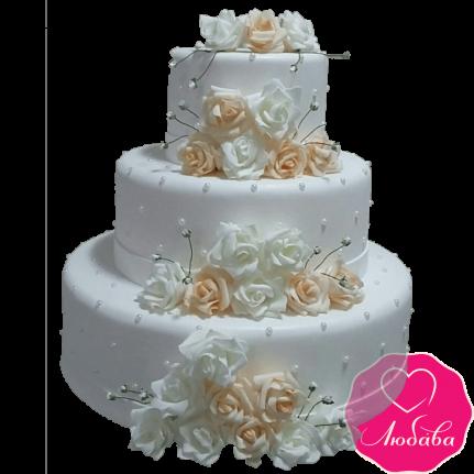 Торт свадебный с чайными розами №2210