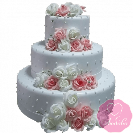 Торт свадебный с розами №2211