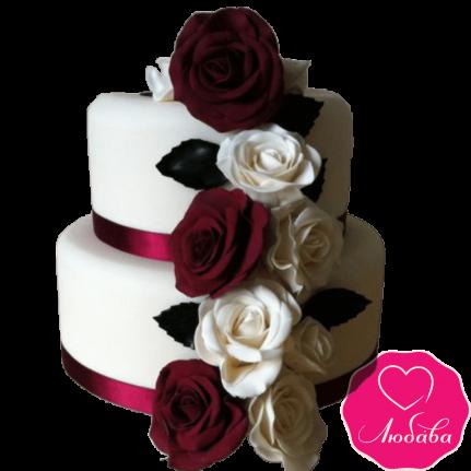Торт свадебный с бордовыми розами №2212