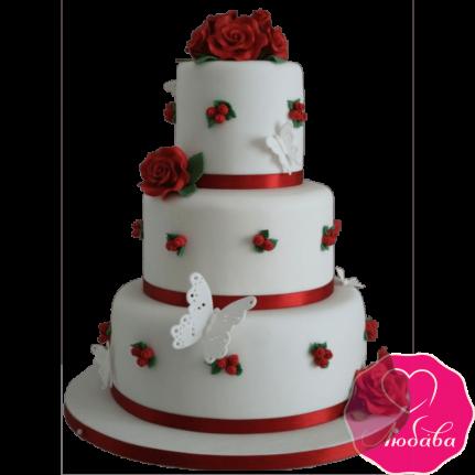 Торт свадебный с красными розами №2213