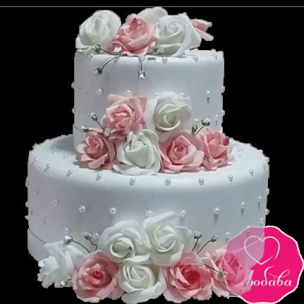 Торт свадебный двухъярусный с розами №2214