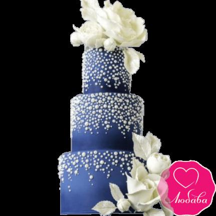 Торт свадебный с белыми розами №2215