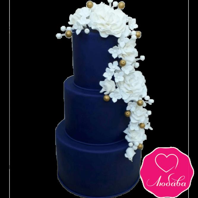 Торт свадебный синий с белыми розами №2216