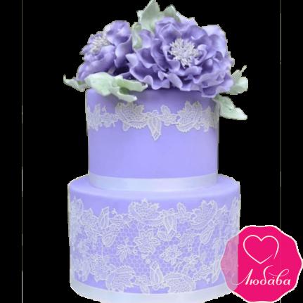 Торт свадебный сиреневый с кружевами №2217