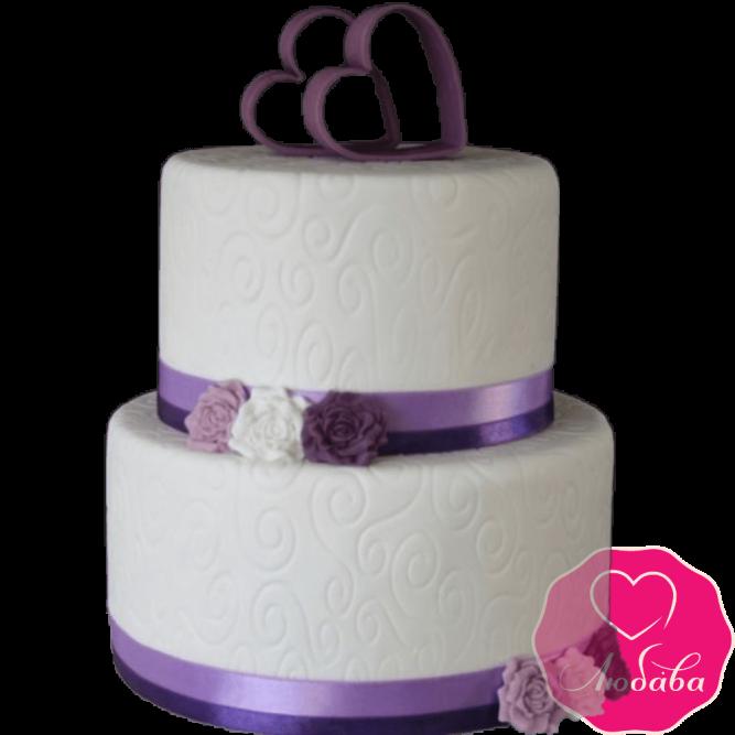 Торт свадебный с сердцами №2218