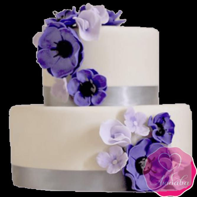 Торт свадебный с фиолетовыми цветами №2219