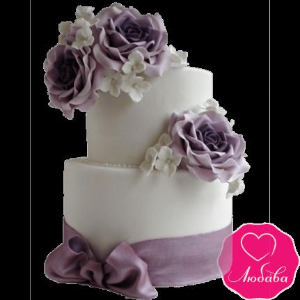 Торт свадебный с фиолетовыми розами №2220
