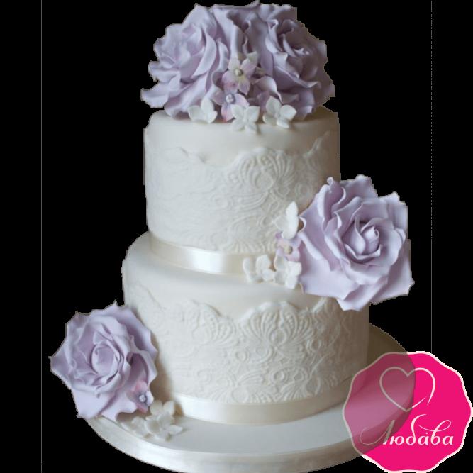 Торт свадебный с фиолетовыми розами и кружевами №2221