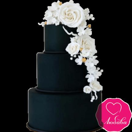 Торт свадебный с белыми розами №2222