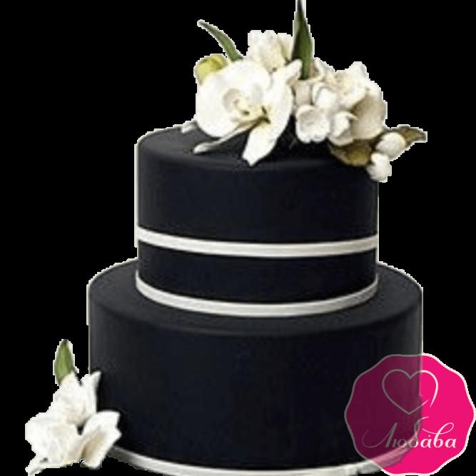 Торт свадебный с орхидеями №2223
