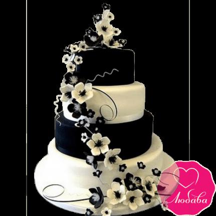 Торт свадебный с цветами №2224