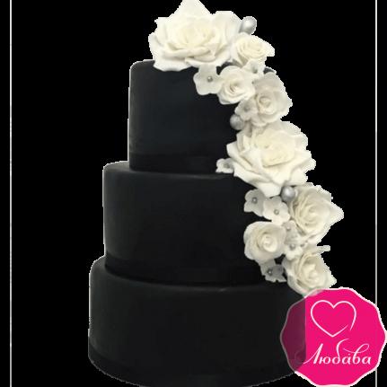 Торт свадебный черный с розами №2225