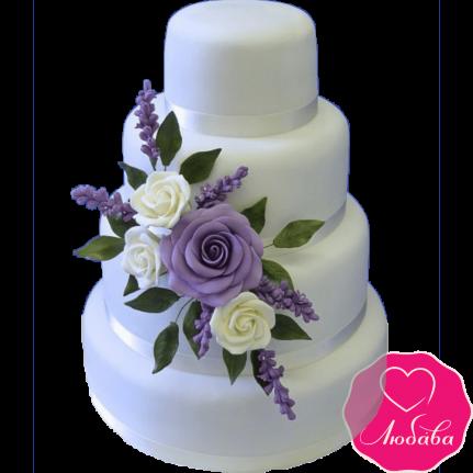 Торт свадебный с сиреневыми розами №2226