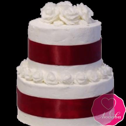 Торт свадебный марсала с белыми розами №2227
