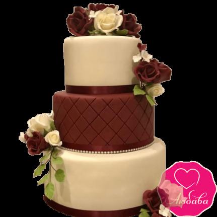 Торт свадебный марсала с розами №2228