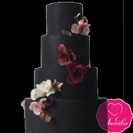 Торт свадебный черный с цветами №2234
