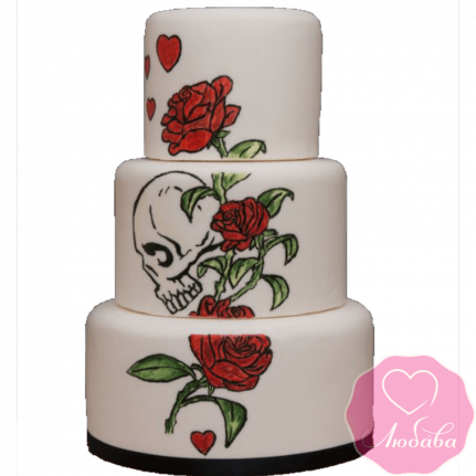 Торт свадебный череп и розы №2235
