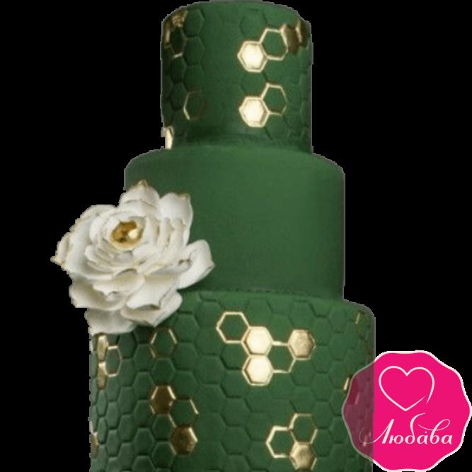 Торт свадебный изумрудный №2236