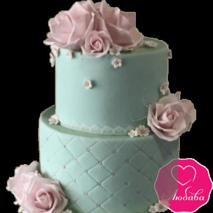 Торт свадебный с розовыми розами №2237