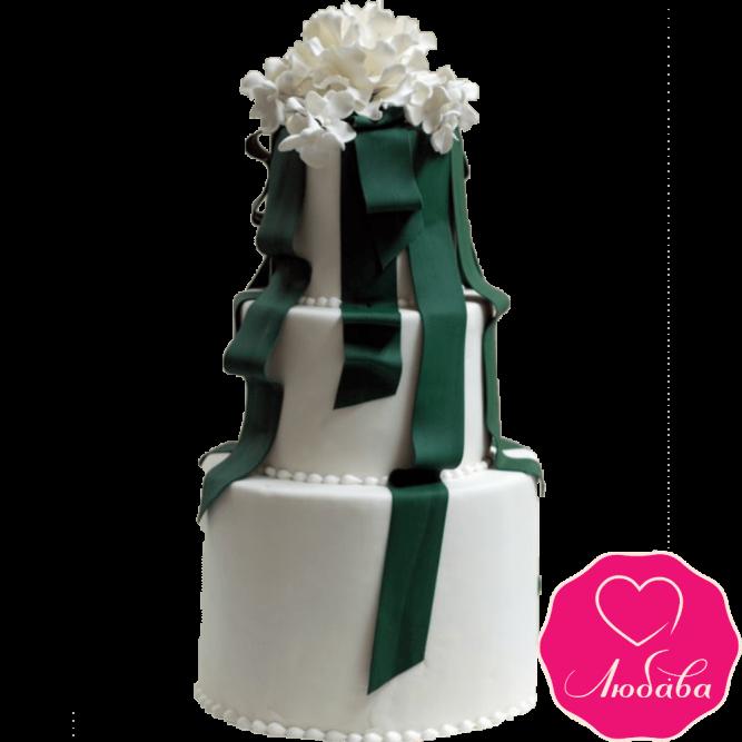 Торт свадебный с лентами №2238