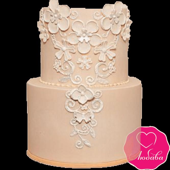 Торт свадебный бежевый №2239