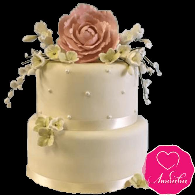 Торт свадебный бежевый с розой №2240