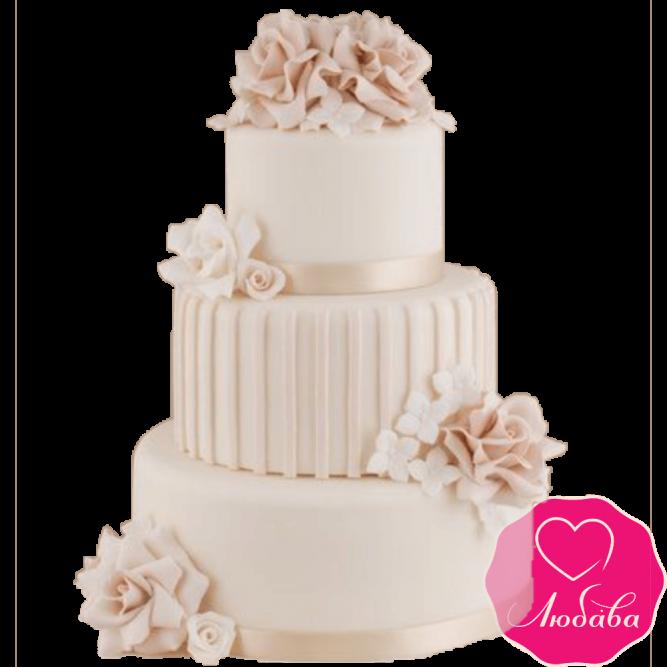Торт свадебный бежевый с розами №2241