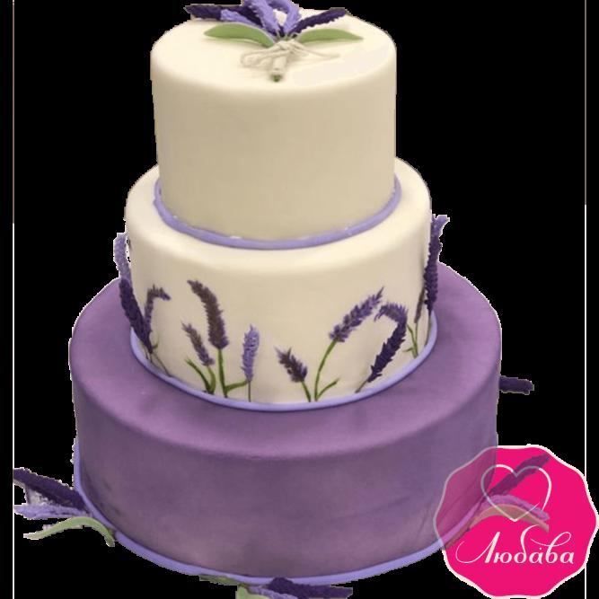 Торт свадебный с лавандой №2243