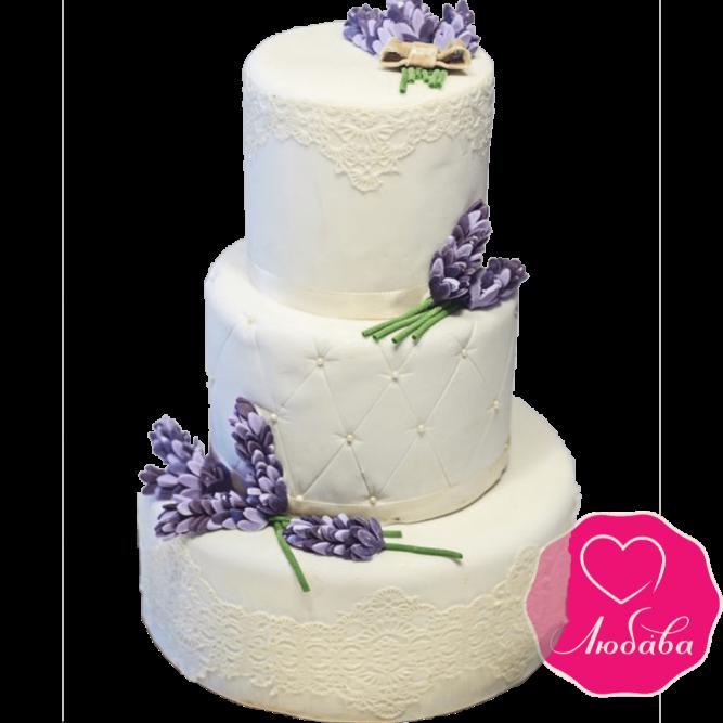 Торт свадебный с цветами лаванды №2244