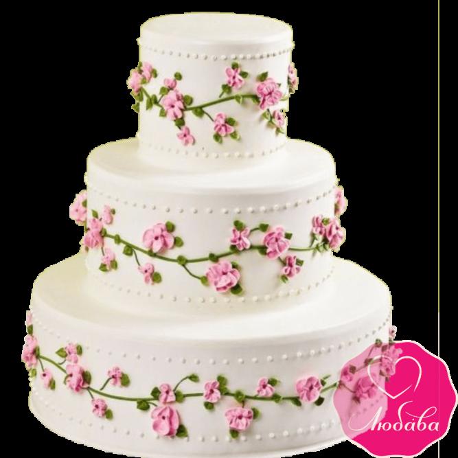 Торт свадебный с цветами №2245